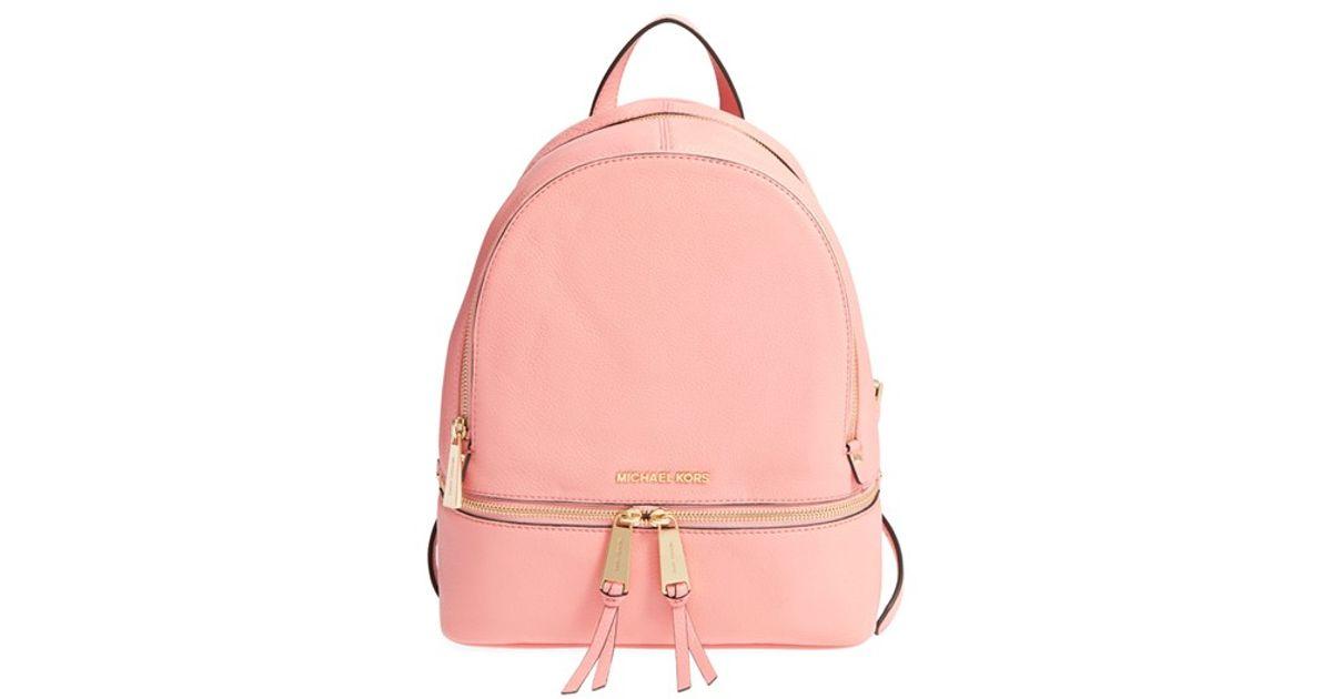 e30cdadee974b4 ... new zealand lyst michael michael kors small rhea zip leather backpack  in pink 45f34 c3e07