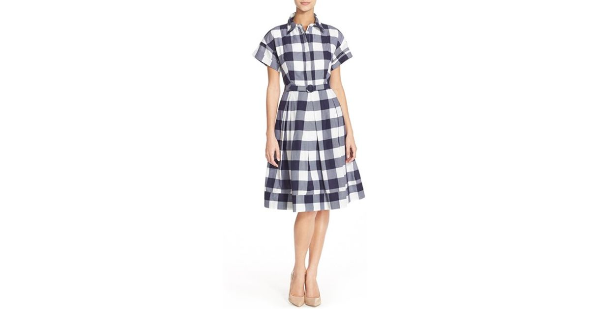 Eliza j woven gingham shirtdress in blue lyst for Navy blue checkered dress shirt