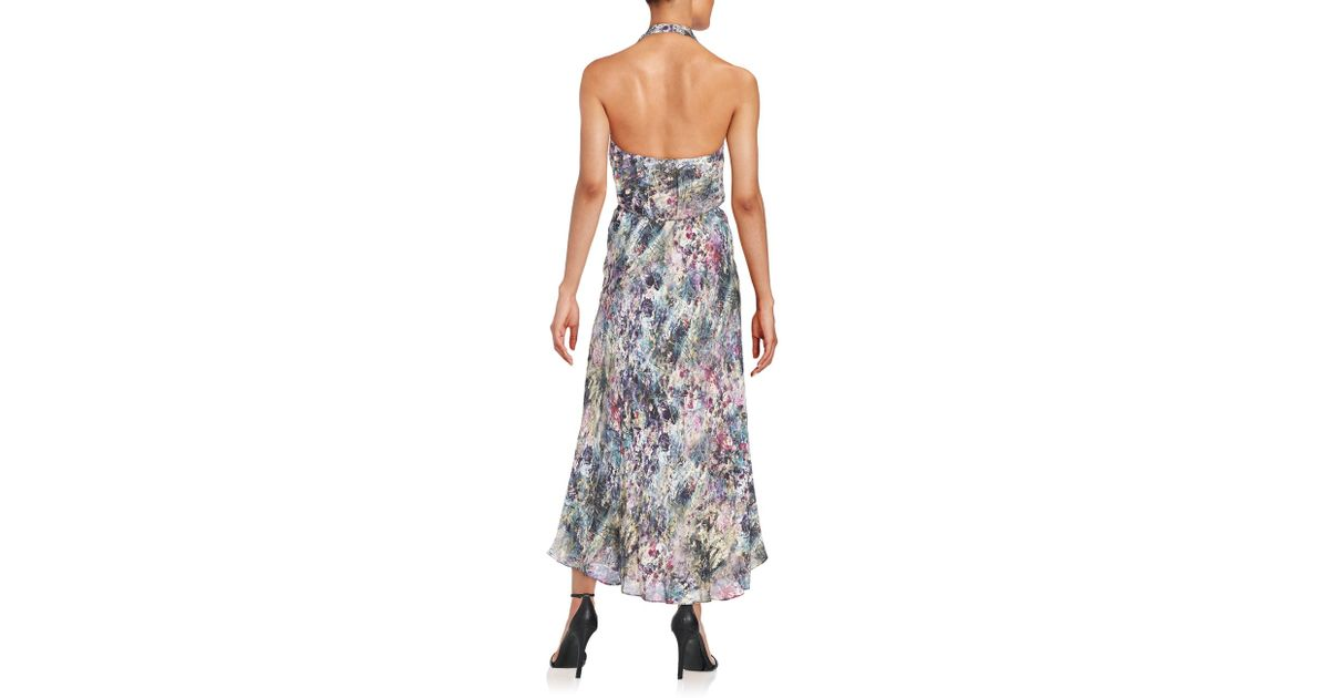 a45bb76aa9 Haute Hippie Abstract-print Silk Faux-wrap Halter Dress - Lyst