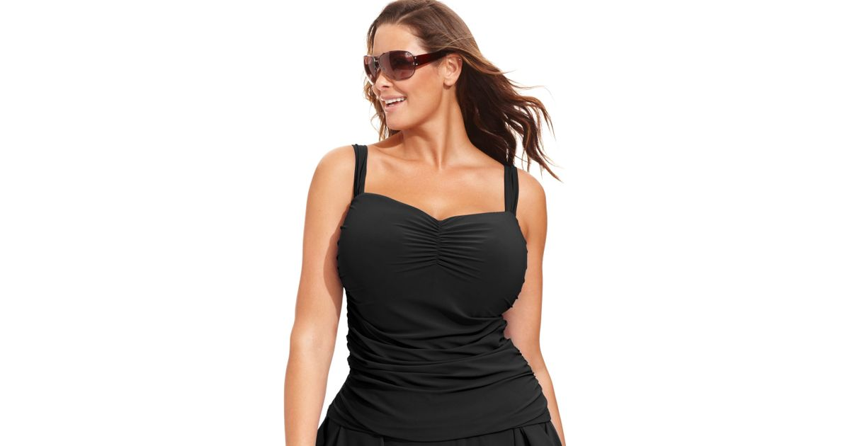 42e766838c6 Lyst - Gottex Plus Size Ruched Dcup Tankini Top in Black