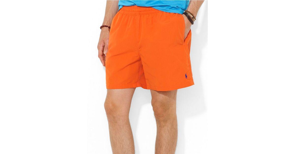 c022c08b60 Polo Ralph Lauren Hawaiian Solid Swim Boxer Shorts in Orange for Men - Lyst