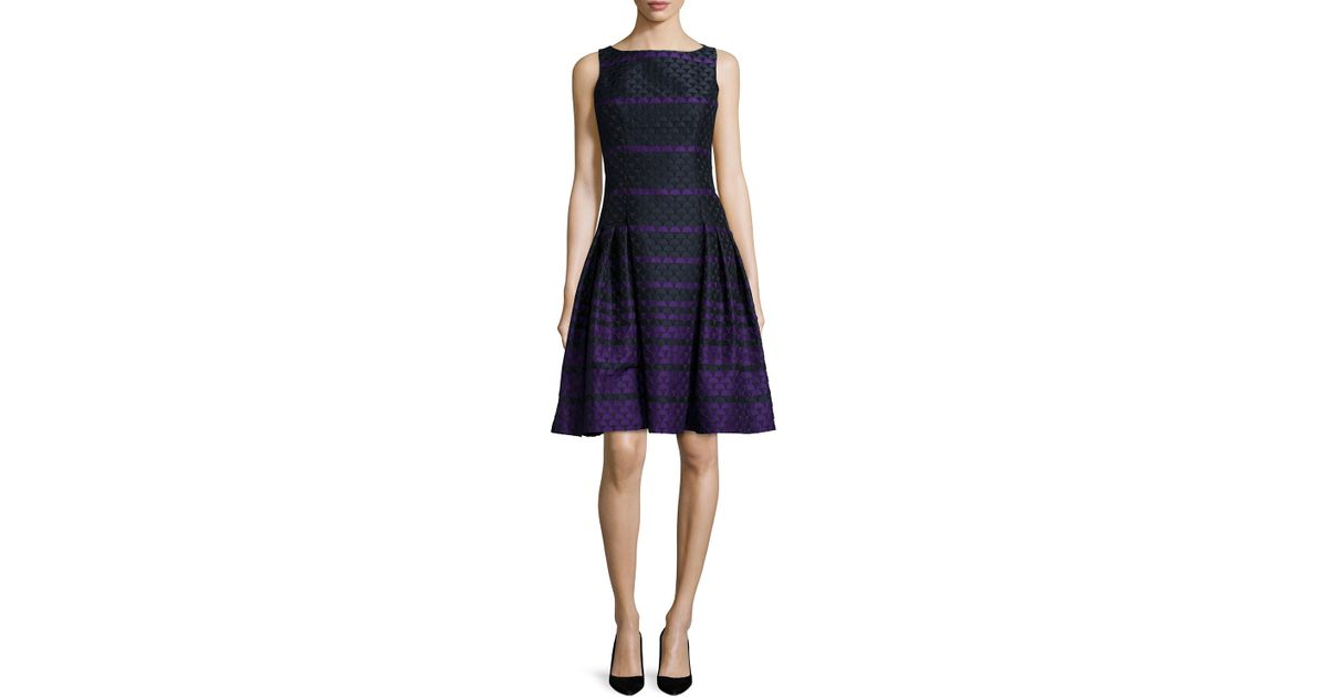 Carmen marc valvo Sleeveless Striped Polka-dot Dress in Purple | Lyst