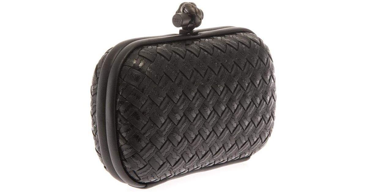 Bottega Veneta Knot Embroidered Leather Clutch in Black - Lyst 699df431ebcfb