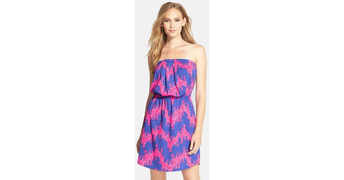 a893720febe2 Lilly Pulitzer 'windsor' Strapless Dress in Blue - Lyst