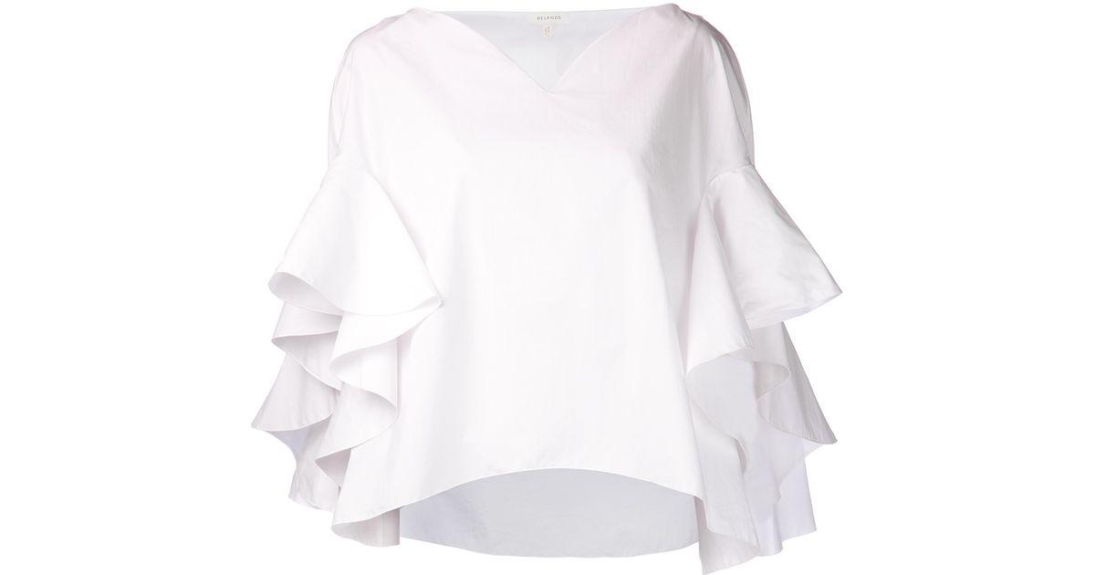 f93ae36909401 Lyst - Delpozo Ruffle Sleeve Blouse in White
