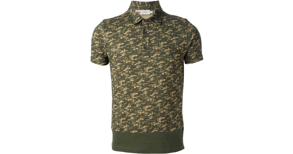 d05d1bda0 Moncler Camouflage Polo Shirt in Green for Men - Lyst