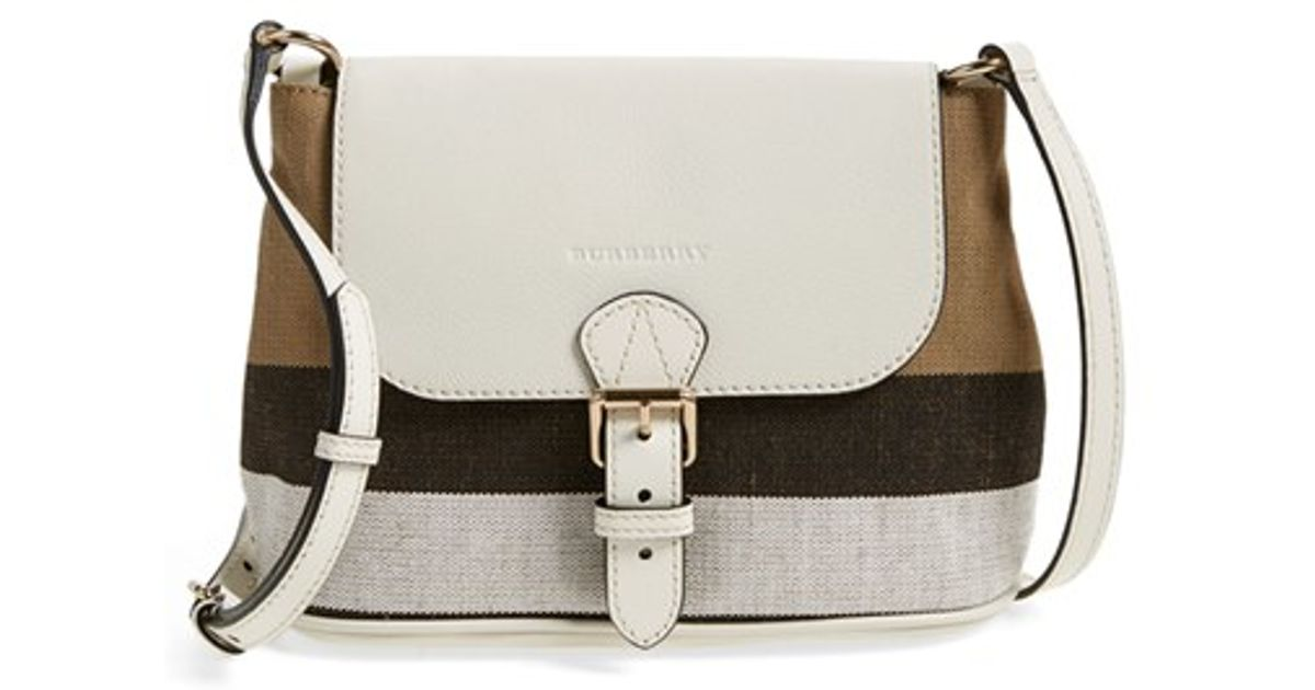 ac82789ec642 Lyst - Burberry Gowan Small Leather Cross-Body Bag in White
