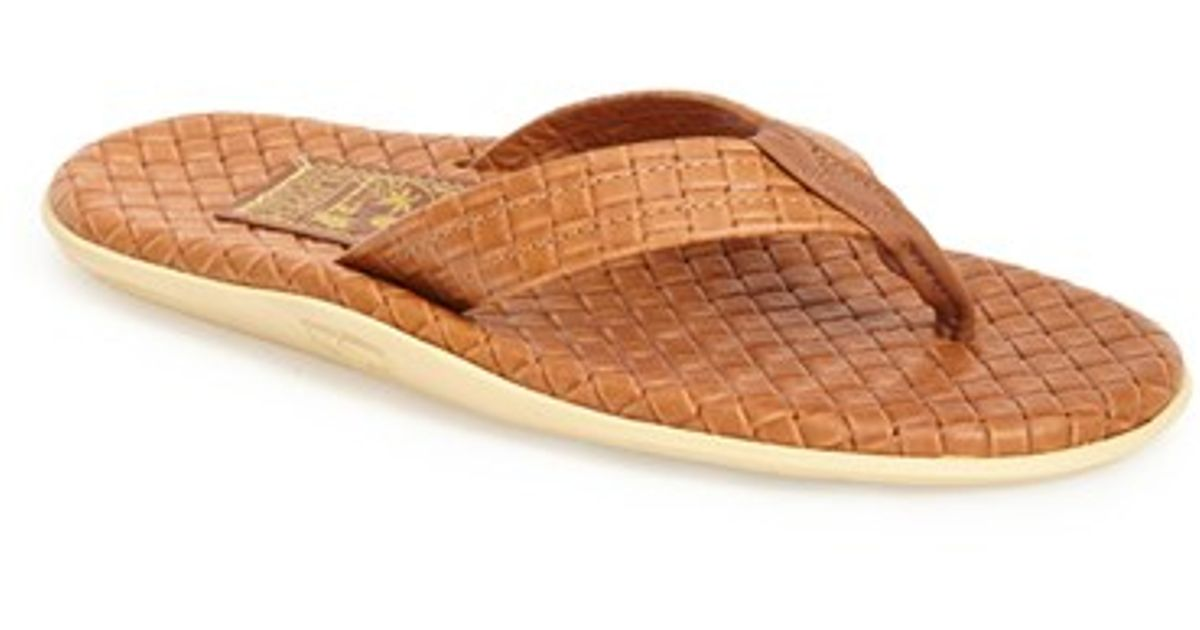ecb262b6b Island Slipper  sassari  Woven Leather Thong Sandal in Brown for Men - Lyst