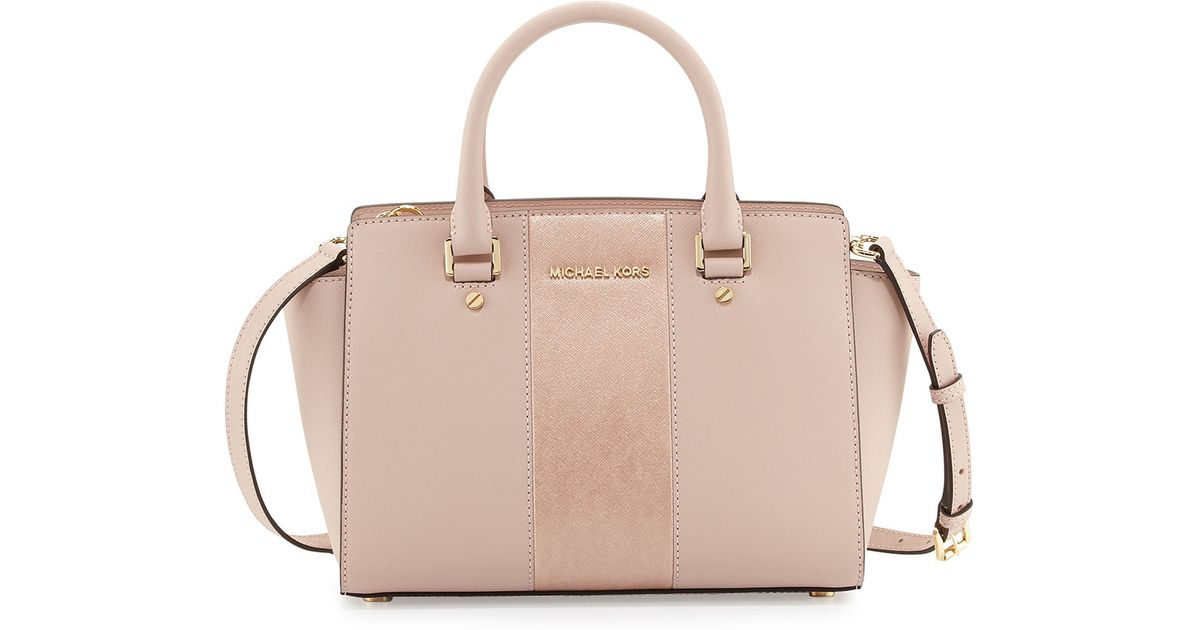 8ece36039b7e Lyst - MICHAEL Michael Kors Selma Metallic Center-stripe Saffiano Satchel  Bag in Natural