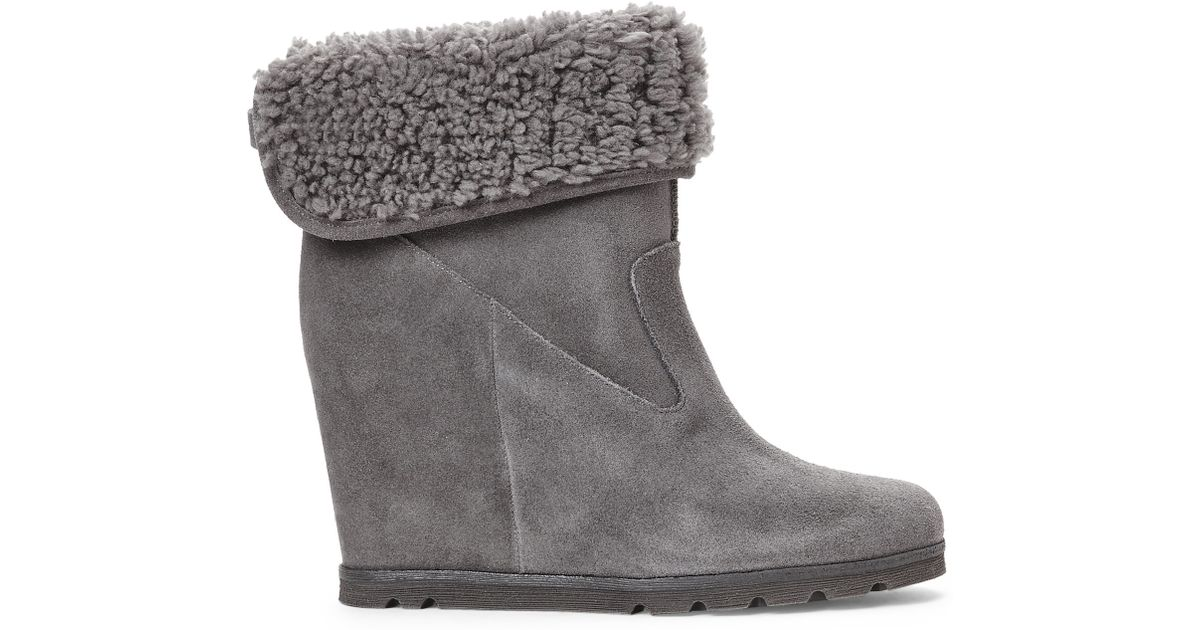 85d1c41f9fbf best price lyst ugg grey kyra wedge boots in gray 4c3a0 7bf23