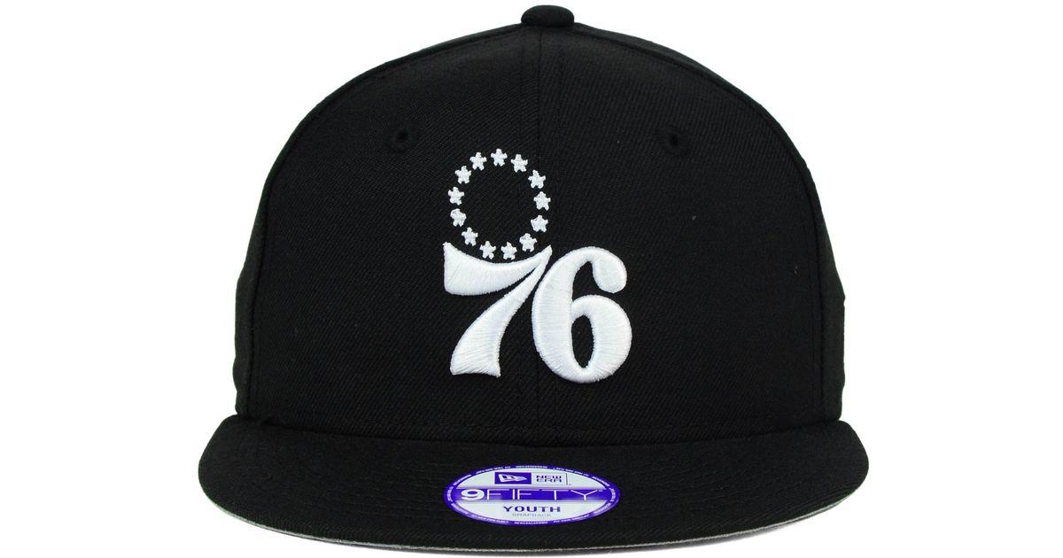 f9869e3682c Lyst - KTZ Kids  Philadelphia 76ers Black White 9fifty Snapback Cap in Black  for Men