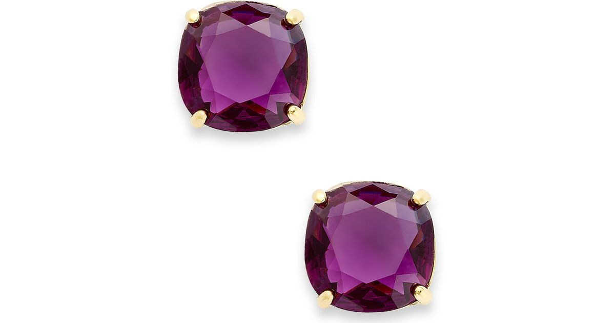 Lyst Kate Spade New York 12k Gold Plated Amethyst Resin Square Stud Earrings In Pink