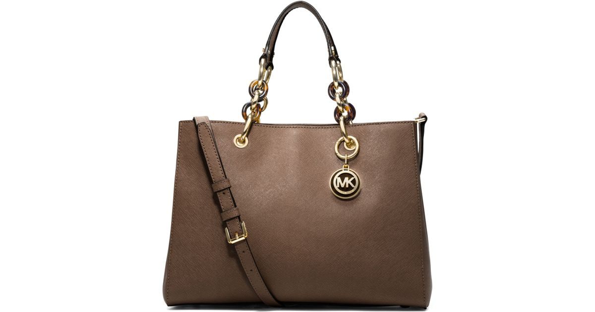 de00156d62 ... sweden lyst michael kors cynthia medium leather satchel in brown 56317  23562