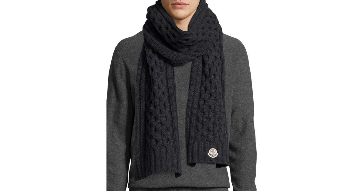 Moncler Mens Cable-knit Cashmere Scarf in Gray for Men Lyst