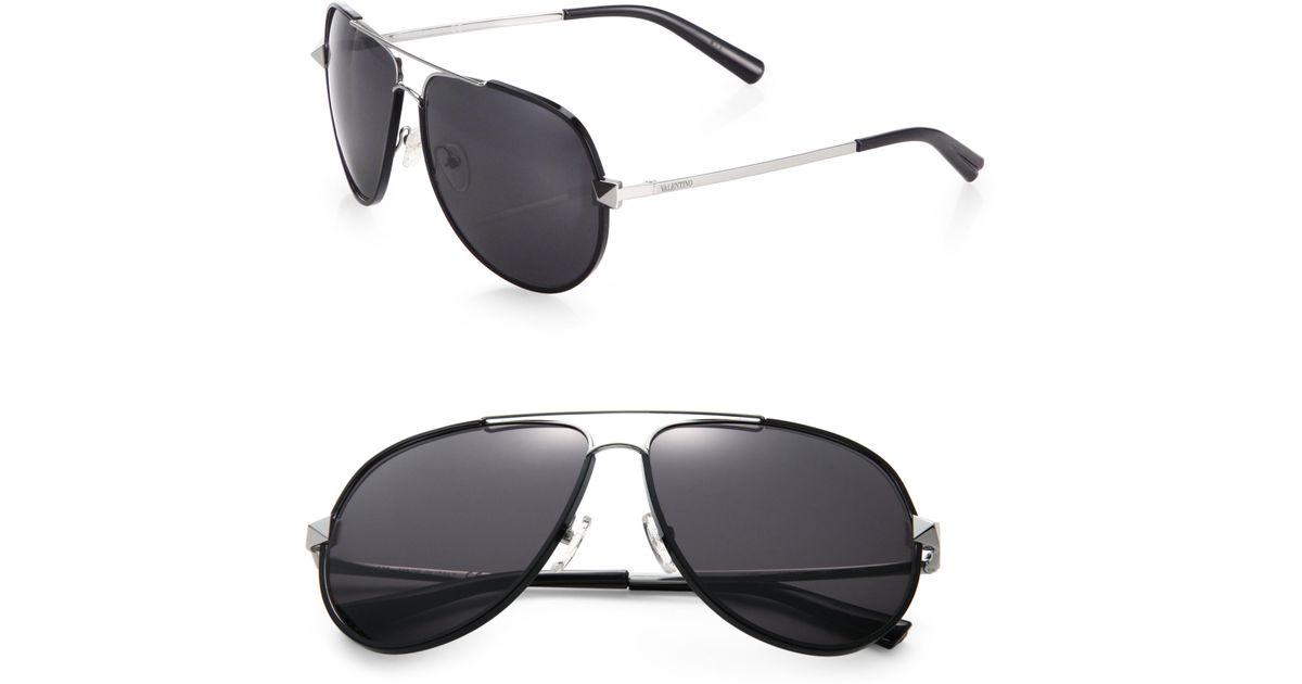 eedc86a3b27 Lyst - Valentino 60mm V116sm Rockstud Metal Aviator Sunglasses in Black for  Men