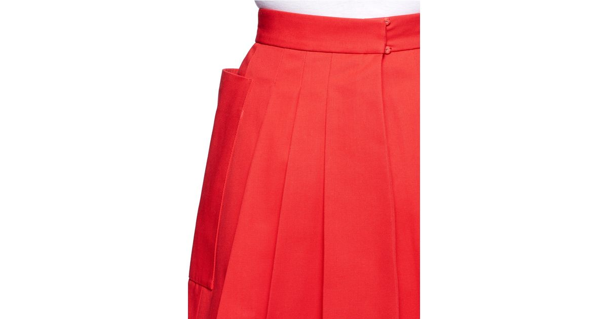 14287eed5b Alexander McQueen Cotton Silk-blend Canvas Large Pocket Pleated Back Skirt  in Red - Lyst