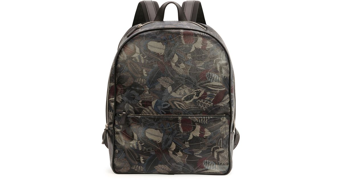Lyst - Ferragamo Plume Feather-print Backpack for Men 1c8eb55a3f