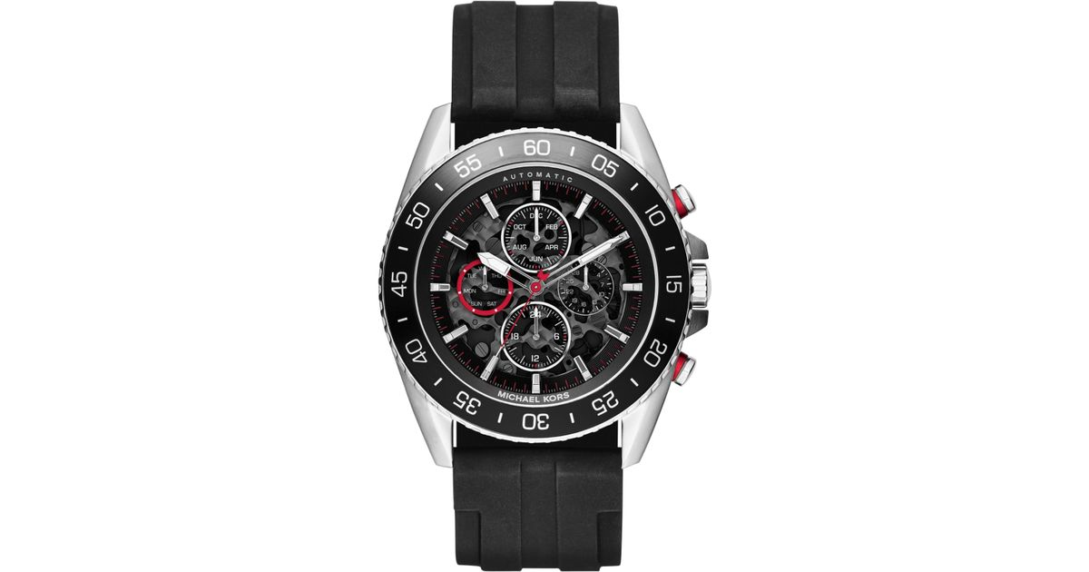 f71b12c137b3 Lyst - Michael Kors Men S Automatic Chronograph Jetmaster Black Silicone  Strap Watch 45Mm Mk9013 in Metallic for Men