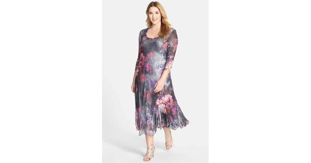 Komarov Plus Size Women\'S Floral Print Pleated Chiffon Dress in Gray ...