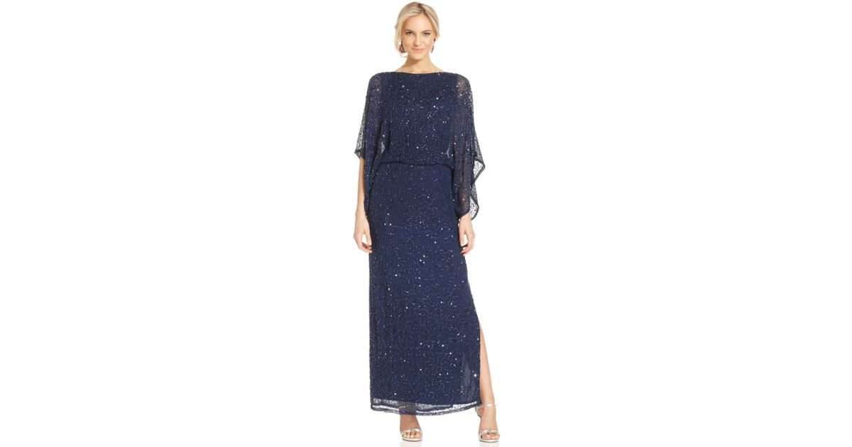 6e1893c0a96 Lyst - Patra Kimonosleeve Beaded Blouson Gown in Blue