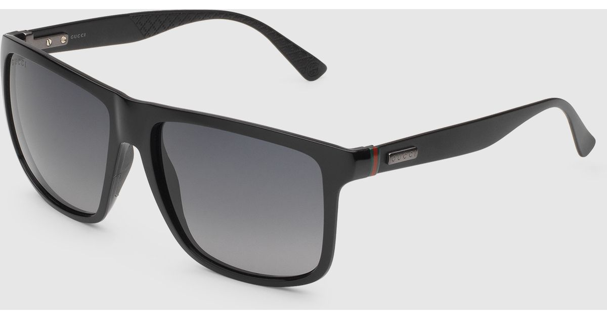 61b06c15088 Lyst - Gucci Square-frame Aluminum And Injected Sunglasses in Black for Men
