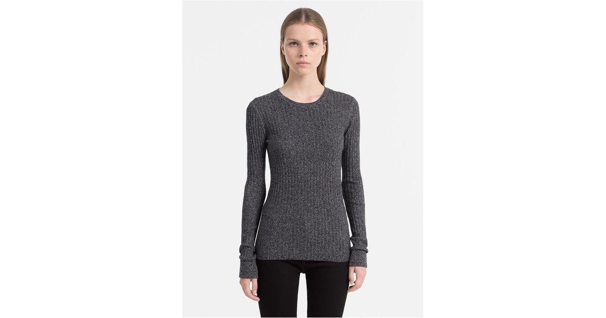 fdfc99d326ad Lyst - Calvin Klein Slim Fit Cotton Silk Rib Sweater in Black