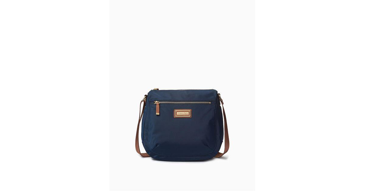 Lyst - Calvin Klein Nylon Messenger Bag in Blue 2a1f607d2b