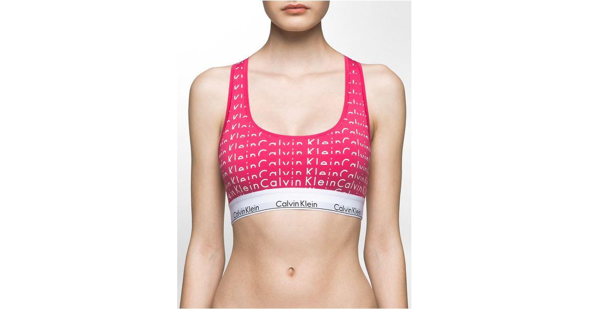 6d5b51f1a6f506 Lyst - Calvin Klein Underwear Modern Cotton Bralette in Pink