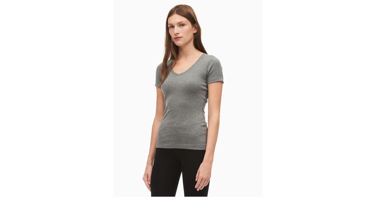 bb8bd1d30cf6 Lyst - Calvin Klein Performance Pima Cotton Stretch V-neck T-shirt in Gray