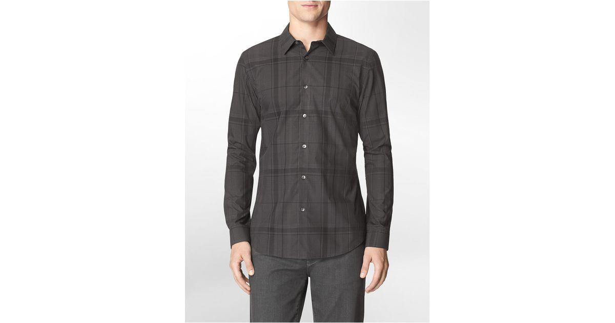 3219cda1782 Lyst - Calvin Klein White Label Slim Fit Micro Cross Check Cotton Dobby  Shirt in Black for Men