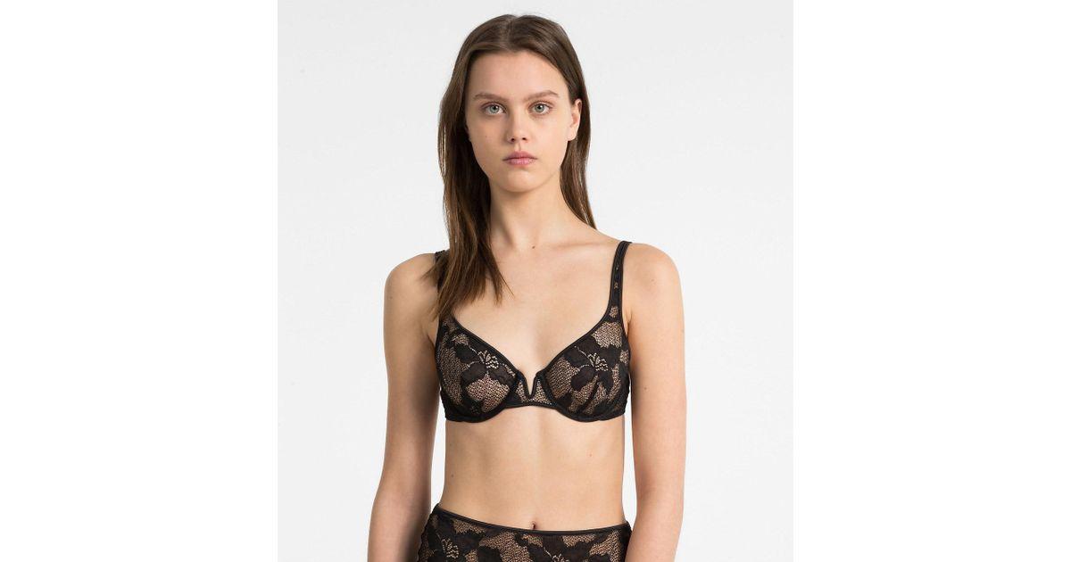 0ca30cceedc29 Calvin Klein Balconette Bra - Ck Black Lily Lace in Black - Lyst