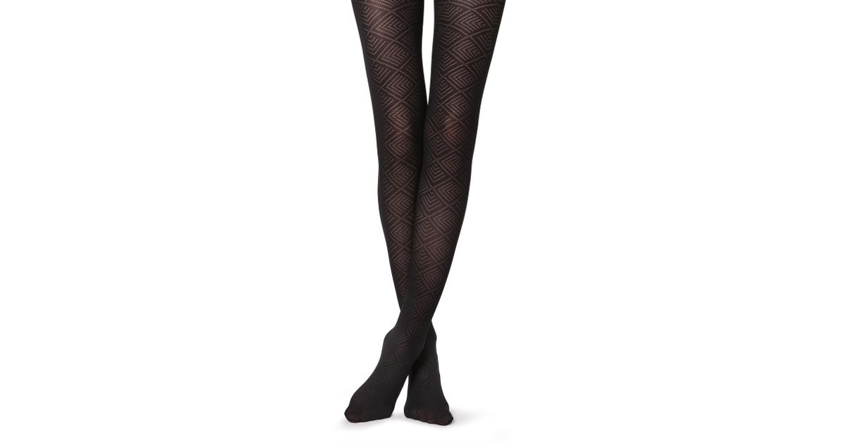 41b0e2ea47933 Lyst - Calzedonia Geometric Patterned Tights in Black