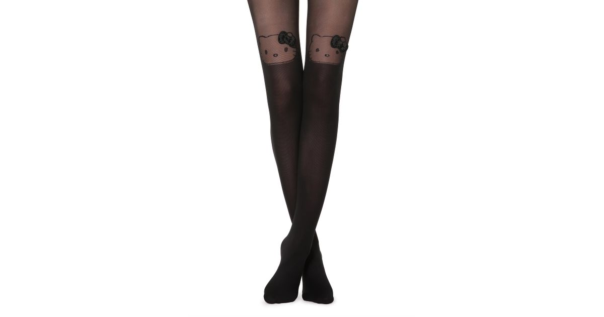 bd558d0b61d2f Calzedonia Hello Kitty Over-the-knee Effect Tights in Black - Lyst