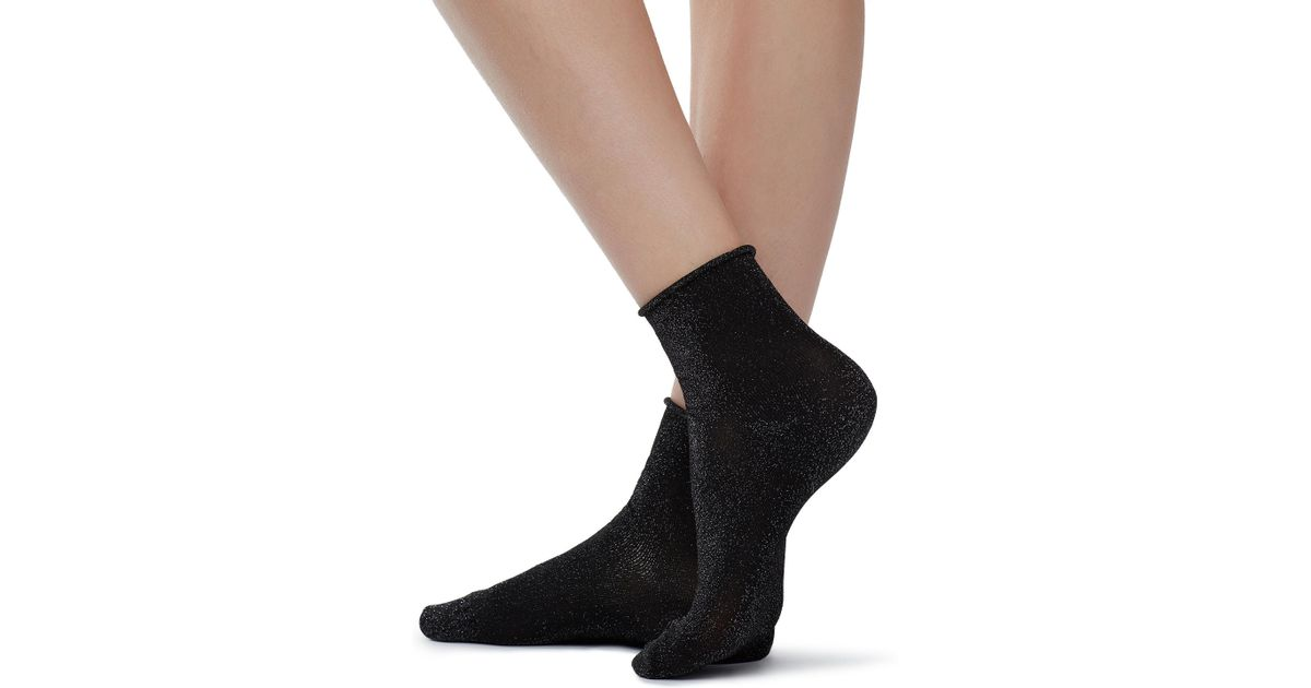 3d582eb81 Lyst - Calzedonia Short Trendy Patterned Socks in Black