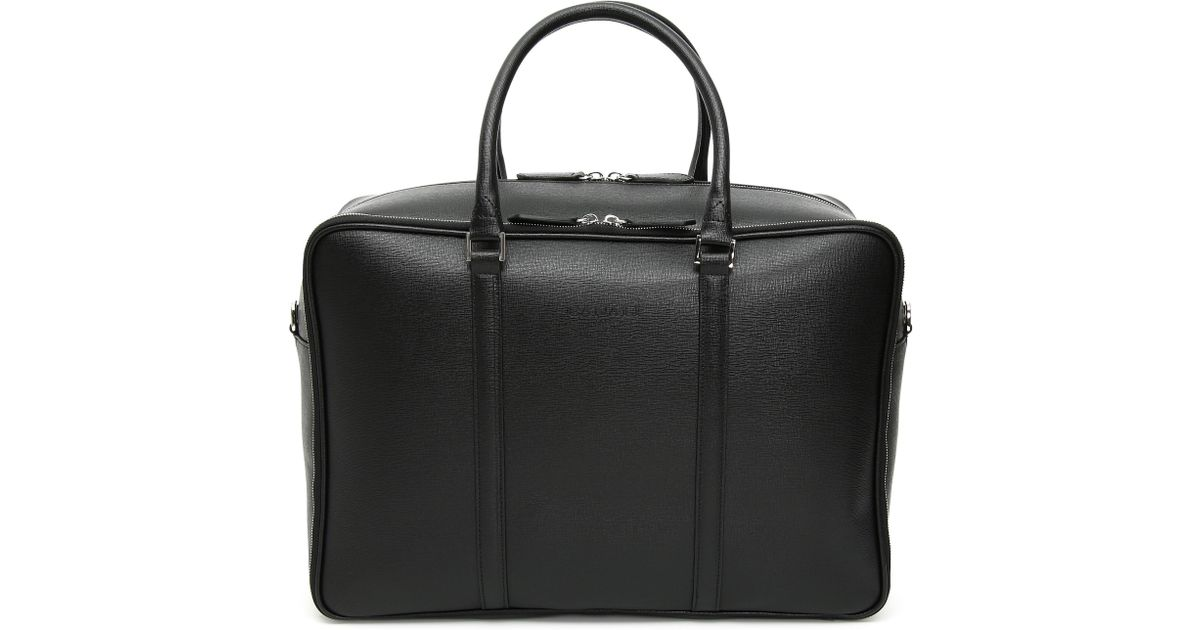 7ab739fb6a Canali Black Saffiano Calfskin Leather Soft Briefcase in Black for Men -  Lyst