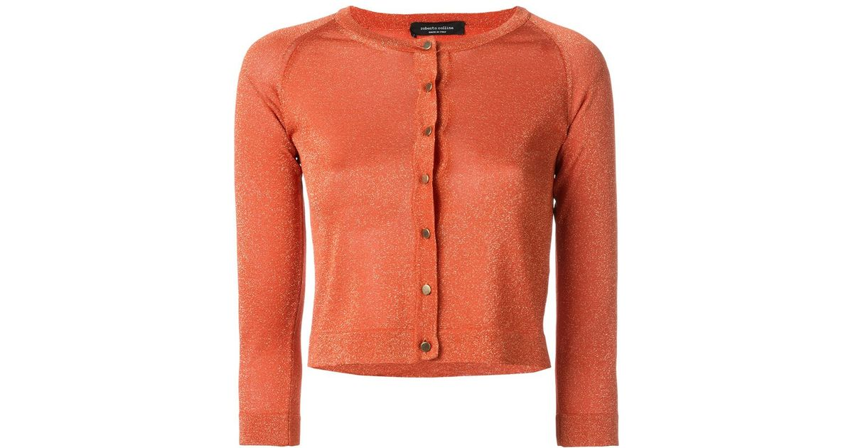 Roberto collina Cropped Cardigan in Orange | Lyst