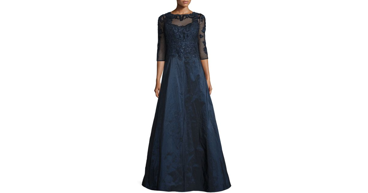 81cb9c7b40 Lyst - Teri Jon 3 4-sleeve Embroidered Lace   Taffeta Gown in Blue