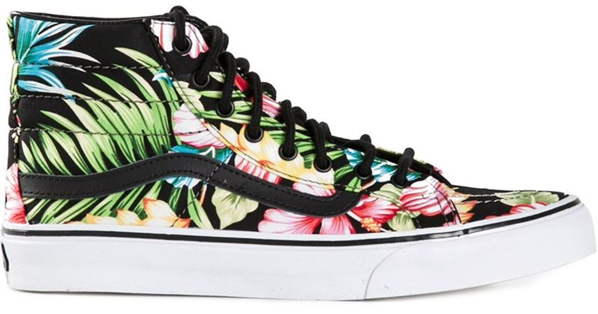 18de8011096 Lyst - Vans Hawaiian Floral Sk-8 Hi Slim Sneakers in Black