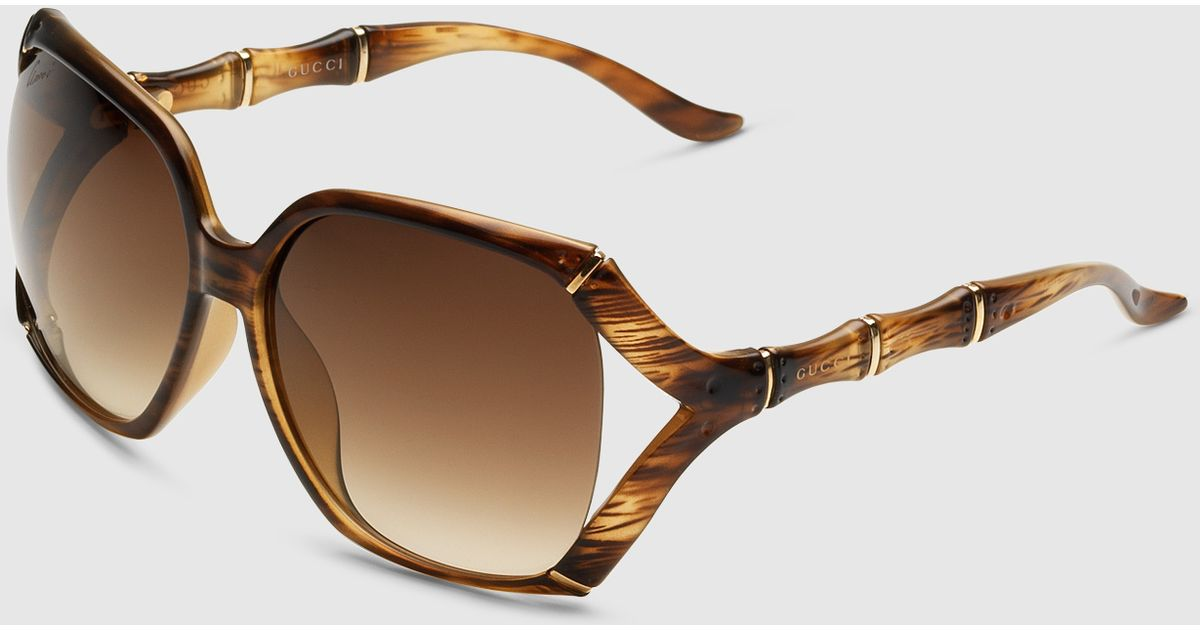 43562ae9efe Lyst - Gucci Square Sunglasses With Bamboo Effect in Natural for Men