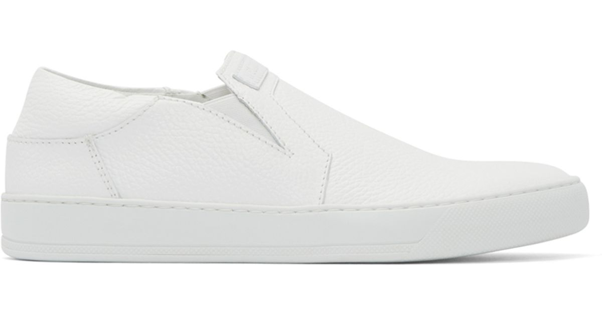 Helmut lang White Leather Slip-on Sneakers in White for ...