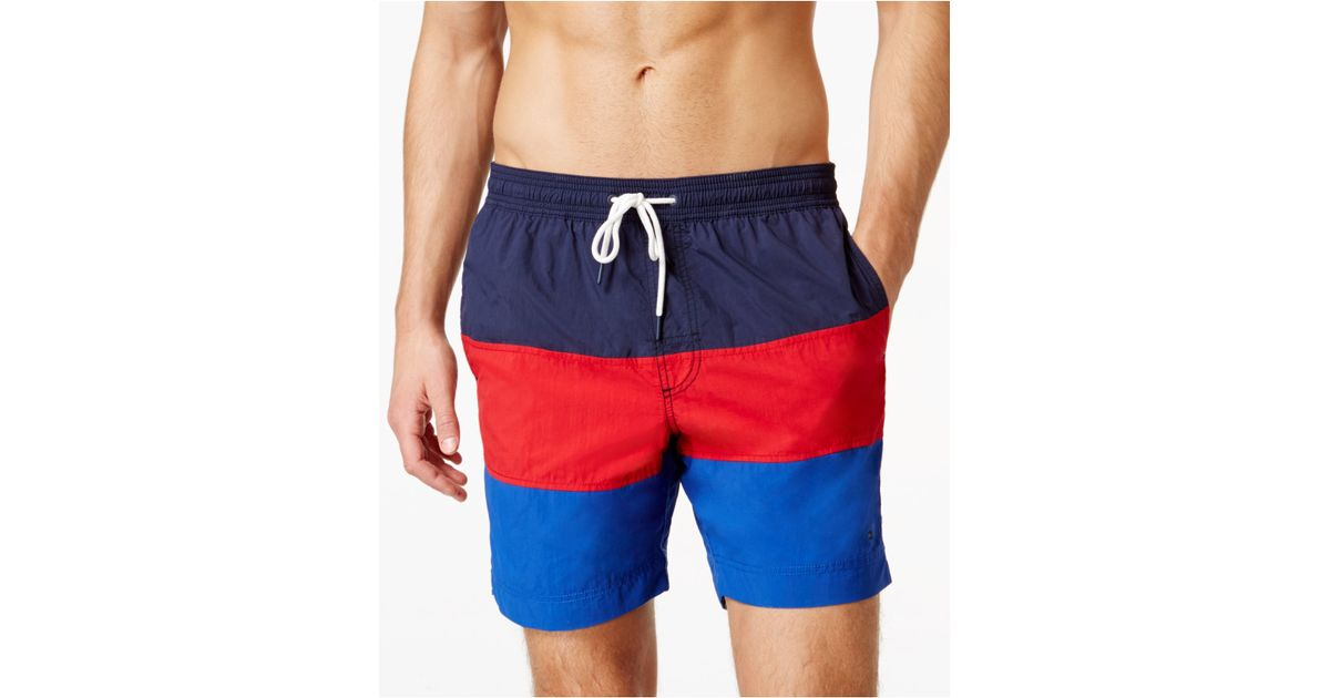b9437d882b Tommy Hilfiger Waterford Colorblocked Drawstring Swim Trunks in Blue for  Men - Lyst