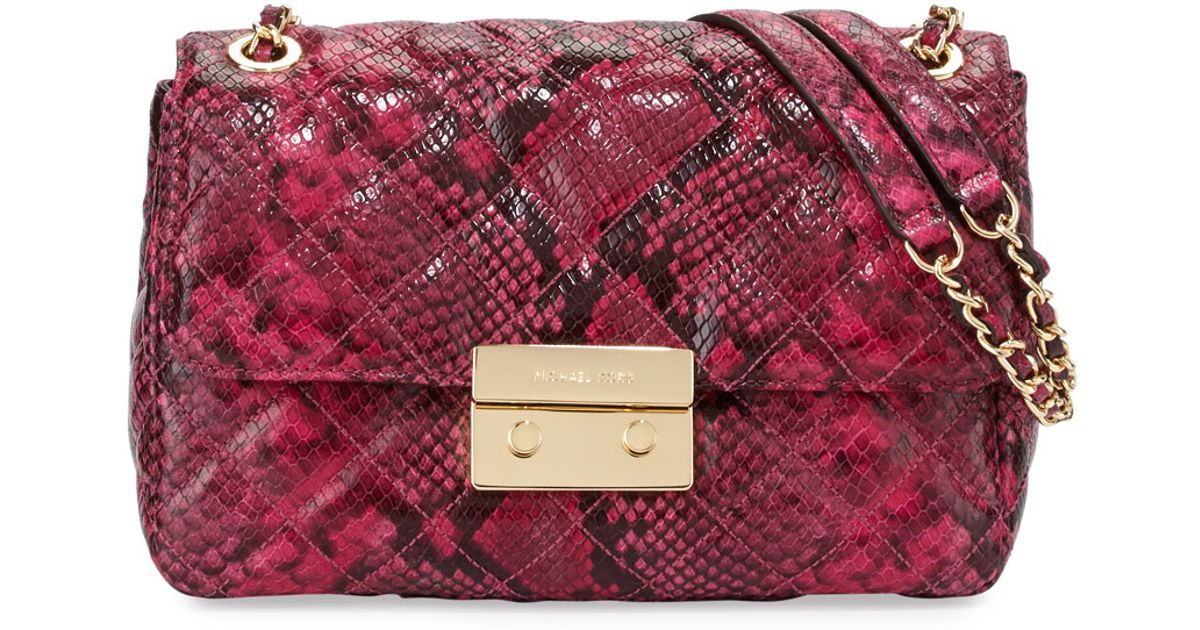 0a47cd84cb7e ... netherlands lyst michael michael kors sloan large chain leather shoulder  bag in pink red python ca715