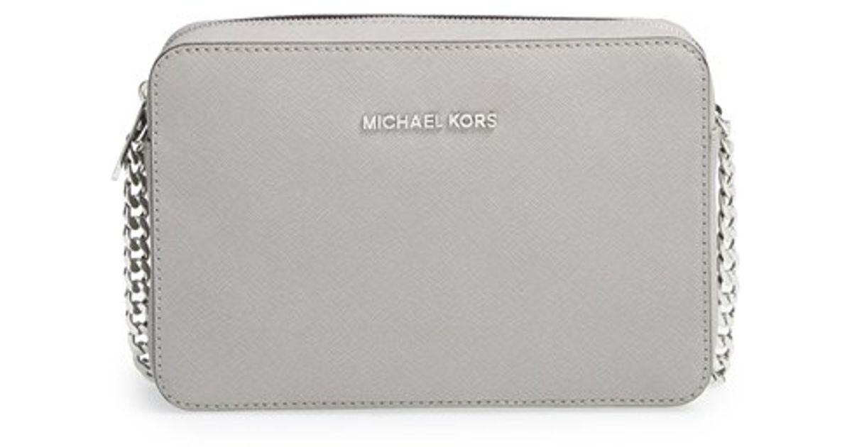 711d1e262f09 Lyst - MICHAEL Michael Kors  large Jet Set  East west Saffiano Crossbody  Bag in Gray