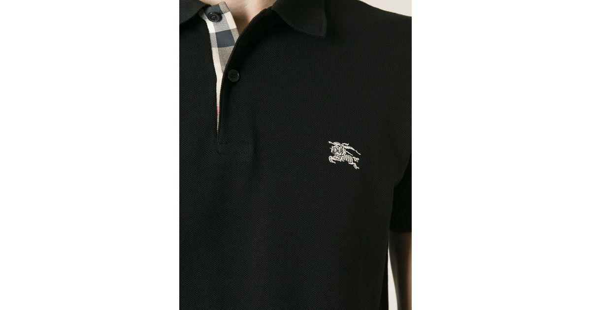 Burberry Brit Embroidered Logo Polo Shirt In Black For Men