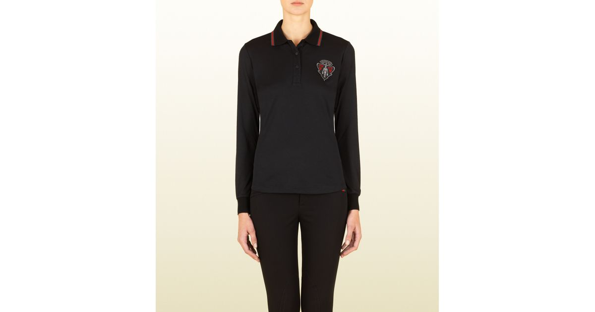 485bd57bb26 Lyst - Gucci Black Long Sleeve Polo With Crest From Equestrian Collection  in Black