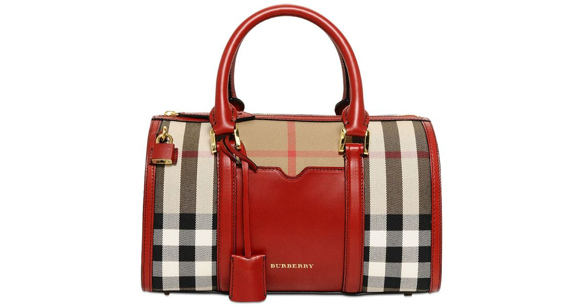 Burberry Medium Alchester Bridle Check Bag in Red - Lyst 63816de29a403