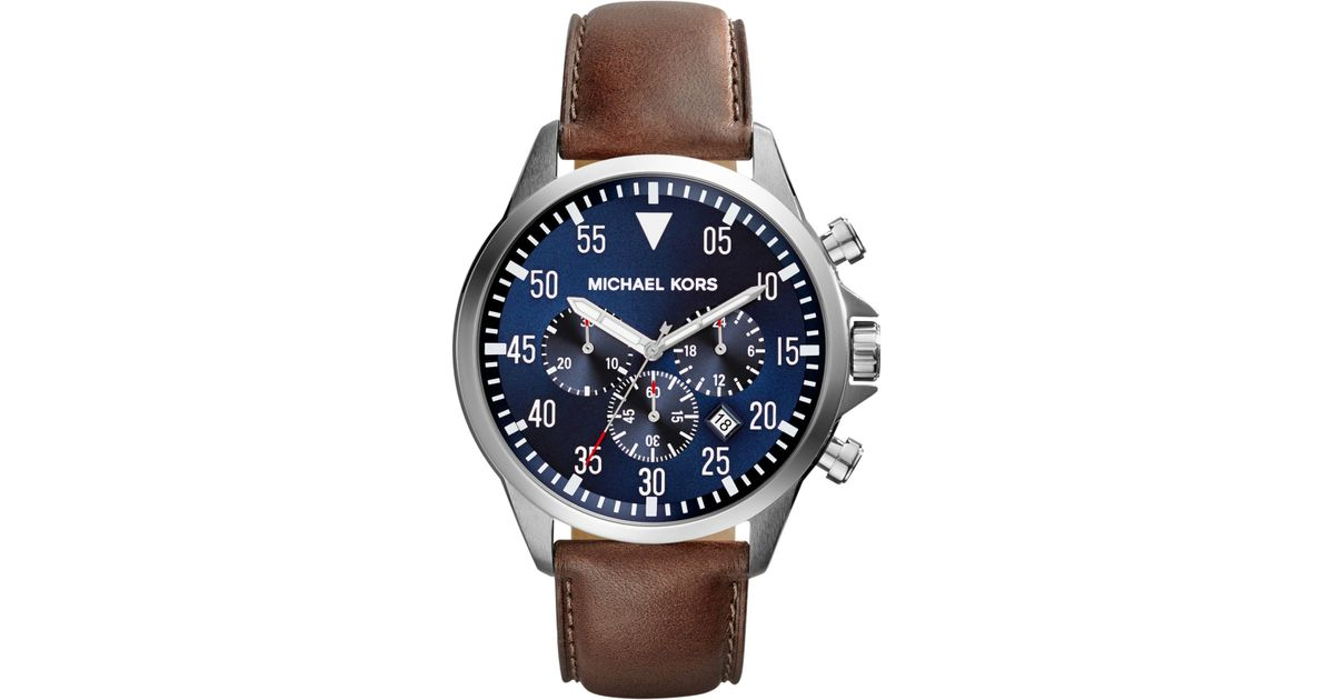 a8f32f2e6 Michael Kors Mk8362 Gage Stainless Steel And Leather Watch in Blue - Lyst