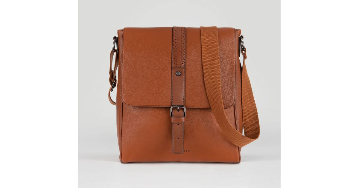 Lyst - Ted Baker Longwin Leather Flight Bag in Brown for Men 219b1cefb6146