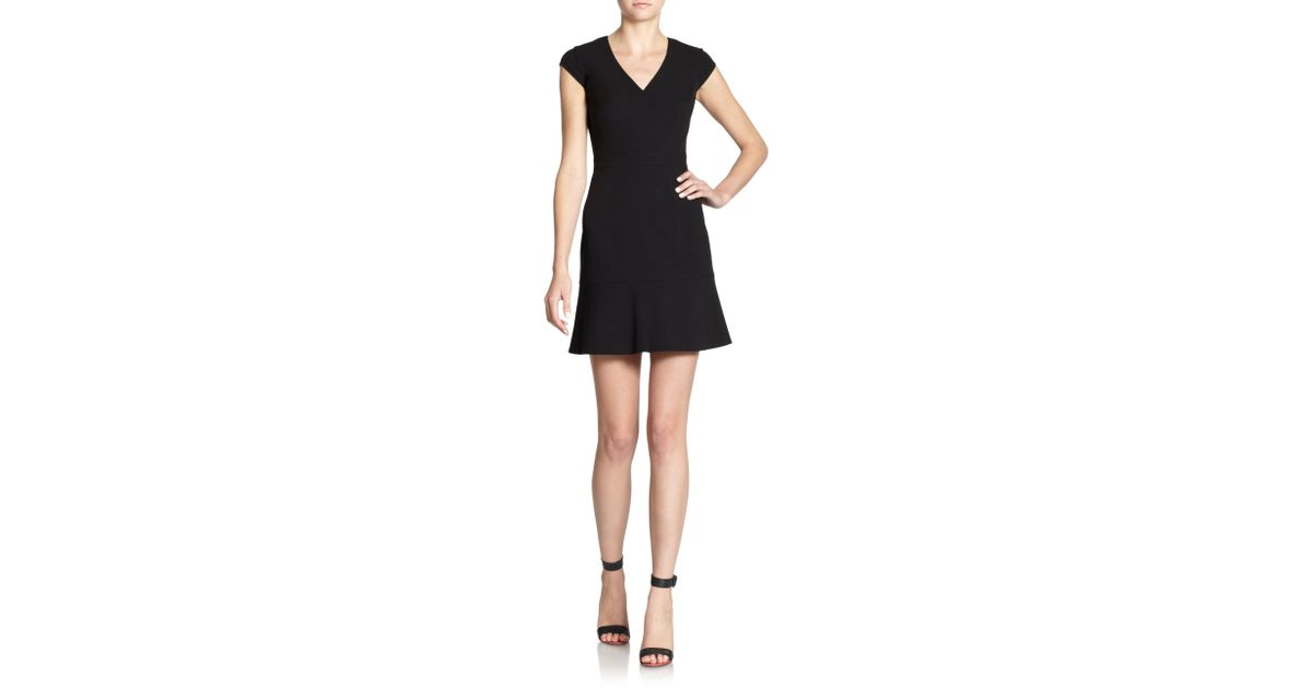 Lyst Andrew Marc V Neck Sleeveless Stretch Jersey Fit And Flare Dress W Embellished Waist In Black