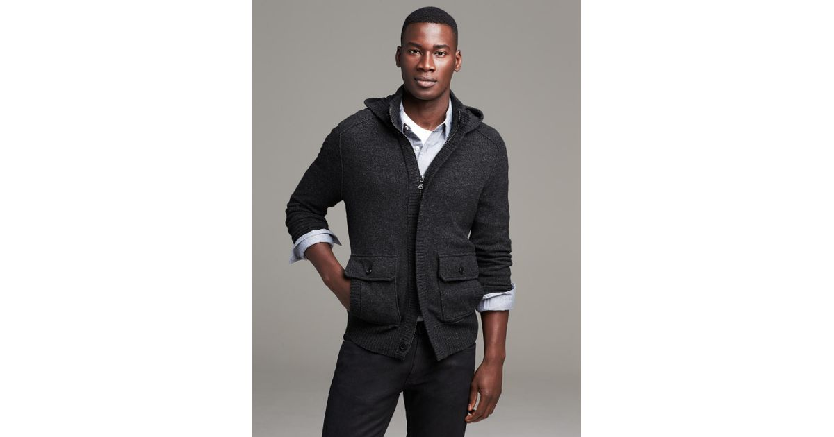 a007439c83808f Banana Republic Heritage Hooded Sweater Jacket in Gray for Men - Lyst